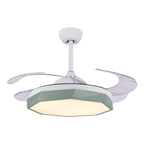 42 '' Deckenventilator Licht LED-Integration Drei-Farben-Licht mit Fernbedienung Geschwindigkeitseinstellung ABS Unsichtbare Klinge Für Wohnzimmer Schlafzimmer Restaurant (Color : Green) -