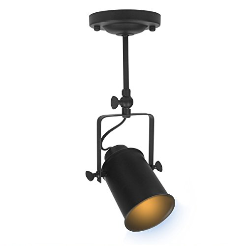 DaSinKo Retro Ceiling Pendant Spot Light, Vintage 1-bulb Spotlight Adjustable Track Light Shade for Restaurant Coffee Bar Dining Room Kitchen,Matte Black Finish,E27 Base ( Bulb Not included ) - Voltage Track-beleuchtung
