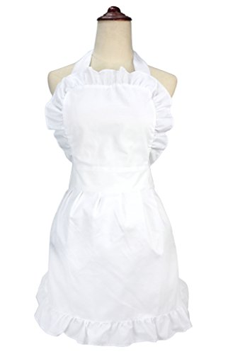 lilments Damen Rüschen Outline Retro Taschen Schürze Küche Kochen Reinigung Dienstmädchen Kostüm weiß (Home Kostüme Einfach)
