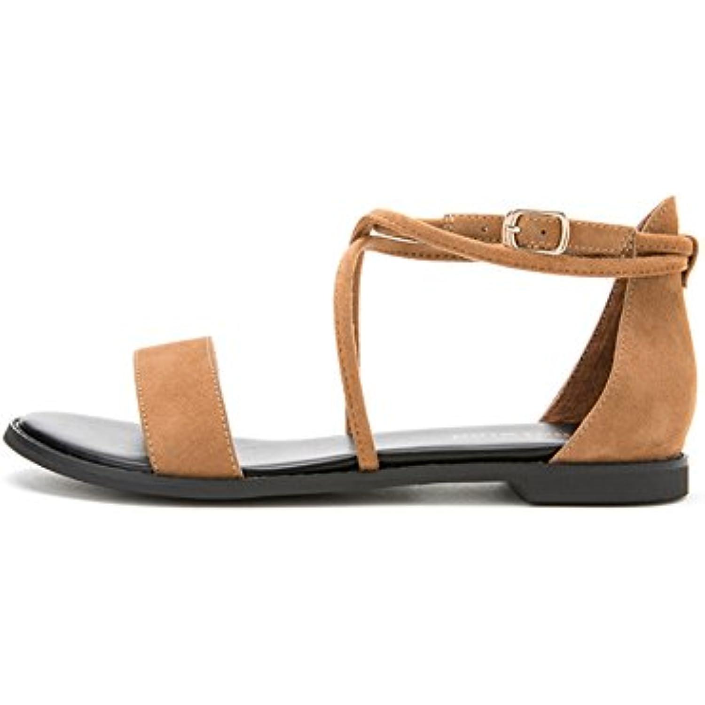 WYYY Chaussures Pour Femmes Saison D'été Bloc À Faible Faible Faible Talon Rétro Boucle De Mot  s Plates Talons Bas Chaussures... - B07DNBZNX6 - 0102ba