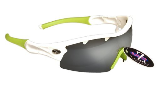 Rayzor Lightweight Professional UV400 White Sports Wrap Running Occhiali da sole, con un pezzo 1 con ventilazione anti-riflesso affumicato Lente con specchio