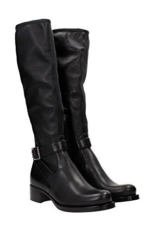 1W087GNERO Prada Bottes Montantes Femme Cuir Noir Noir