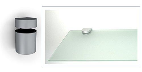 Glasregal Wandregal 60x30 cm /10 mm satiniertes Glas mit BASKET5 silbermatt
