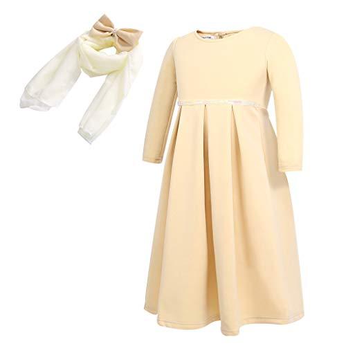Muamaly Bekleidungsset Baby Mädchen - Ramadan Muslim Abaya Dubai Robe Traditional Kleid + Kopftuch - 2 Stück Outfits Kleinkind Set Bekleidungssets (Khaki, 4T) (4t Kleinkind Robe)