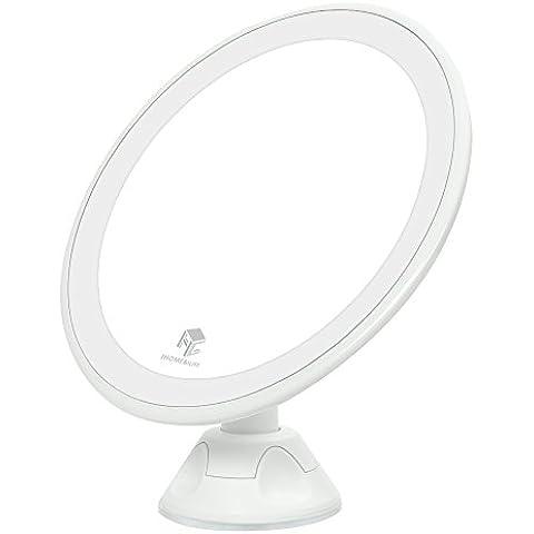 iHome&iLife espejo iluminado cosméticos espejo de maquillaje luz LED suave del para el baño, tocador, cosméticos ,360 Grados Giratorio,espejo de litio carga con USB y 7x agrandado