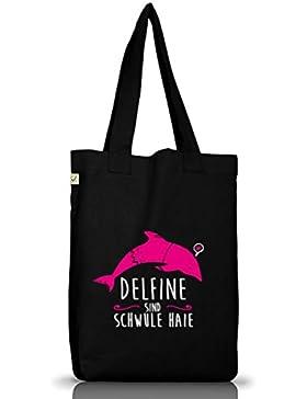 Shirtstreet24, Delfine sind schwule Haie, Jutebeutel Stoff Tasche Earth Positive (ONE SIZE)