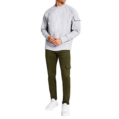 Btruely Hose Herren Jeans Groß Größe Freizeithosen Männer Hosen Fit Distressed Jeans-HoseHerren Langarm Rundhals Utility Sleeve Übergroße Sweatshirt Tops Bluse -