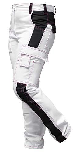 strongAnt Damen Arbeitshose komplett Stretch Weiß Pink für Frauen Malerhose mit Kniepolstertaschen. Reißverschluss YKK + Metallknopf YKK Baumwolle - Made in EU - Weiß-Schwarz/Pinke Naht 24