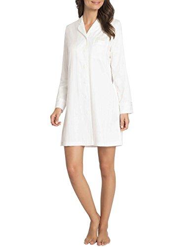 Taubert Berlin Satin-Nachthemd geknöpft, Länge 90cm Damen Off-White