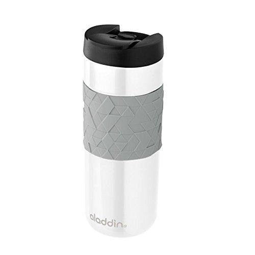 Aladdin Easy-Grip Leak-LockTM Edelstahl-Thermobecher, 0.47 Liter, Weiß, 100% Auslaufsicher und verriegelbar,  Doppelwandig Vakuumisoliert, Kaffeebecher to-go /Isolierbecher