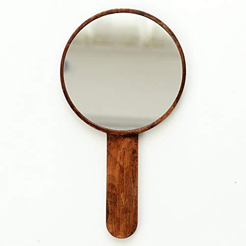 JXJJD Mobiler Frisierspiegel des Handgriffsverfassungsspiegels des festen Holzes HD, der Retro- hölzernen beweglichen Spiegel des Handspiegelschönheitssalons hält