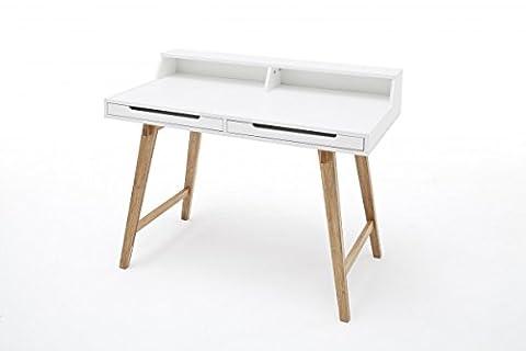 Dreams4Home Schreibtisch 'Beauty', Weiß, Buche, massiv, MDF, Bürotisch, Tisch, Sekretär, Anrichte, Kommode, Schminktisch