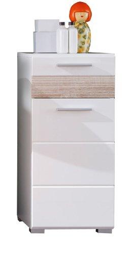 trendteam Badezimmer Schrank Kommode Mezzo, 37 x 79 x 31 cm in Weiß Hochglanz, Absetzung Eiche Sägerau Hell Rillenstruktur (Nb.) mit viel Stauraum