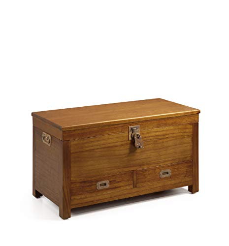 Baúl con candado, madera maciza / 2 cajones, 90 x 45 x 50 cm