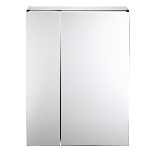 Mari Home - Armario doble para baño de acero inoxidable con puertas de espejo, 430 x 160 x 590 mm.
