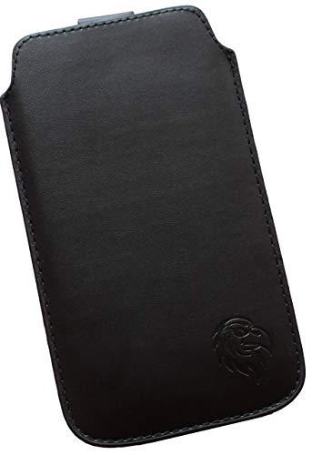 Dealbude24 Schutz Tasche für Sony Xperia XZ3 mit Hülle, Pull tab Hülle Handy herausziehbar, dünnes Etui genäht mit Rausziehband, innen weiches Microfaser mit exklusivem Adler Motiv SXS Schwarz
