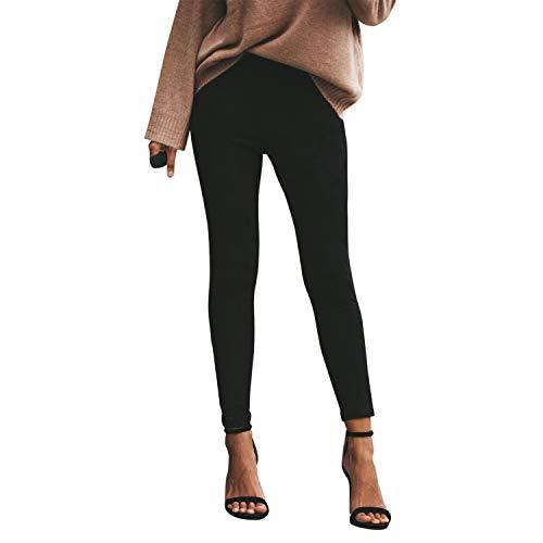 Jolisson Damen Leggings Faux Stretch Lange Hose Elastische Slim Fit Knöchel Strumpfhose mit Reißverschluss Basic Bleistift Hose - Basic Stretch-leggings