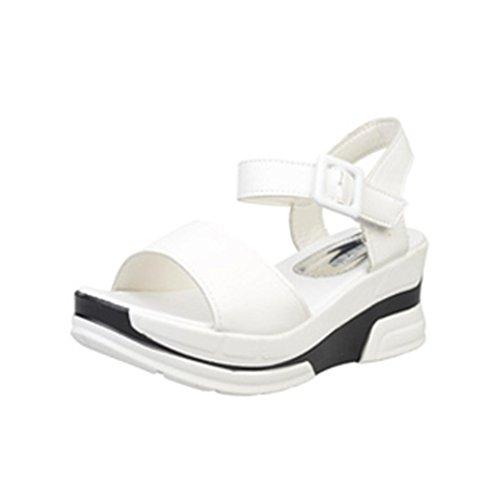 Ouneed®Eté Fille Femmes Sandales Talon Compense Haut 5cm Plateforme Blanc