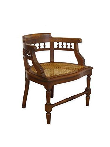 Stuhl Armlehnstuhl Bürostuhl Antik um 1920 aus Eiche mit Geflecht (9207)