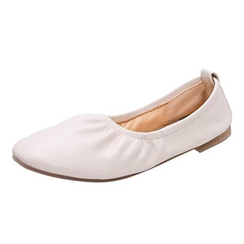 Mocassins Femmes Printemps, Manadlian Chaussures de Plates Ete 2019 Chaussons de Ville en Cuir Talon Plate Loafters Paresseux Simples Shoes Chaussures de Plage à Fond Souple