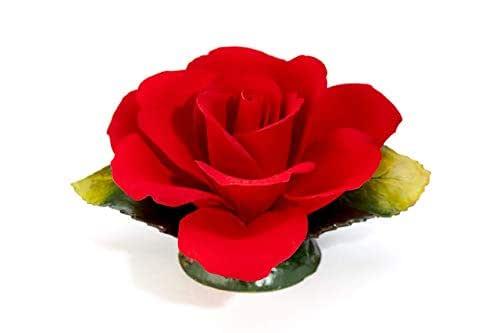 Rosa Rossa Fragrant In Porcellana Prodotta A Mano In Italia Da Unionporcelain Con Marchio Napoleon In Puro Stile Capodimonte