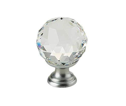 Satiniertes Chrom, 30 mm, Glaskristall, rund, Made With Swarovski Elements (Bolt Swarovski)