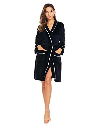 ADOME Damen Morgenmantel Bademantel Saunamantel Flauschig mit Tasche und Gürtel weiche Gemütliche Robe (Robe Tasche)