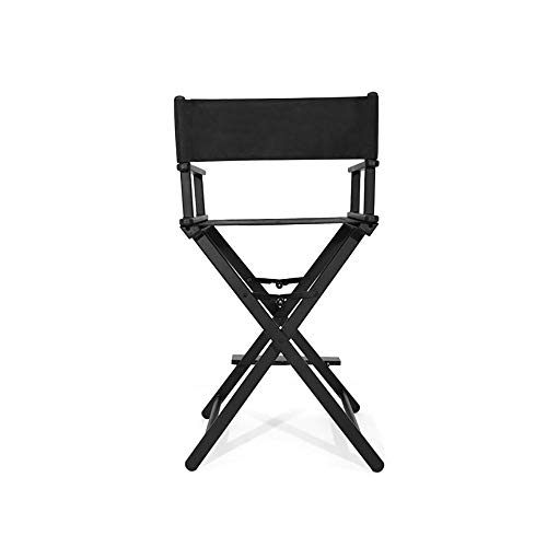 Garden Ting Klappbarer Regiestuhl Tragbarer Make-up-Stuhl Multifunktionsstuhl aus Aluminium (Color : Black)