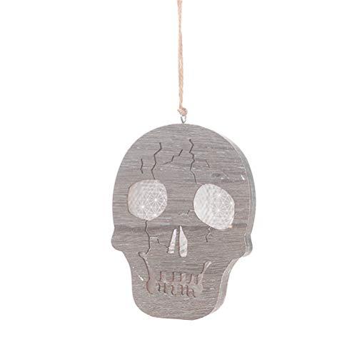 Amosfun Laternenlichter hängen Anhänger aus Holz Schädel Straßenlaterne nach Hause DIY Partei liefert Halloween-Dekoration (Diy Halloween-dekoration Holz)