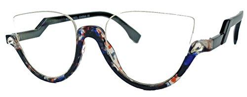 amashades Cat Eyes Retro Brillengestell für Damen 50er 60er Jahre Halbbrille Klarglas HB16 (Marble Blau)