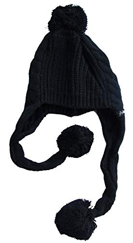 Damen Winter Mütze'Nepal' Schwarz Strickmütze mit langen Zöpfen und Bommeln