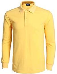 Hombre Polo Camisas Casual Manga Larga Dos Botón Polos Jersey Camisa e5cc1ac55780c