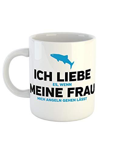 clothinx Kaffeetasse mit Aufdruck Ich Liebe Es Wenn Meine Frau Mich Angeln Gehen Lässt