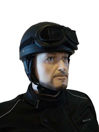 CHEYENNE Retro Oldtimer Helm mit PU-Leder bezogen und Fliegerbrille (L (59/60 cm))