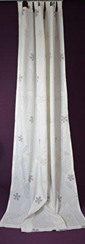 Rideau à passants Store écharpe rideau occultant motif floral,, env. 135 x 245 cm Ecru/Gris fabriqué en Allemagne