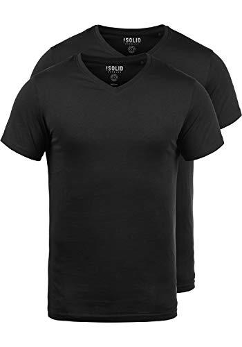!Solid Portus Herren T-Shirt Kurzarm Shirt Mit V- Ausschnitt Aus 100% Baumwolle Stretch 2er Pack, Größe:XL, Farbe:Black (9000) -