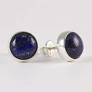 Damen Ohrringe Natürlichen Dunkelblauen Lapislazuli Edelstein 9mm Ohrstecker 925 Sterling Silber