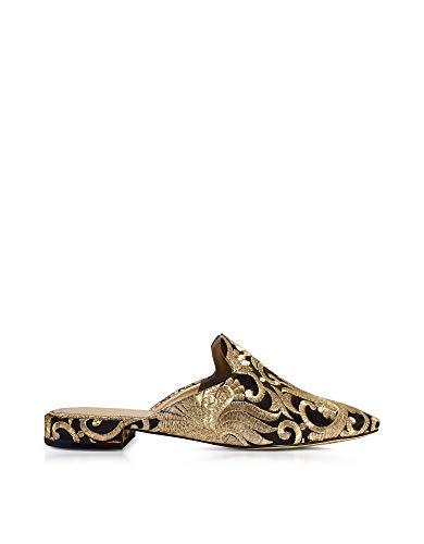Tory Burch Damen 39626010 Schwarz/Gold Stoff Sandalen