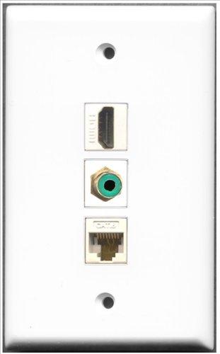 RiteAV-1Port HDMI und 1Port RCA grün und 1Port Cat6Ethernet weiß Wall Plate Rca Modular Wall Outlet