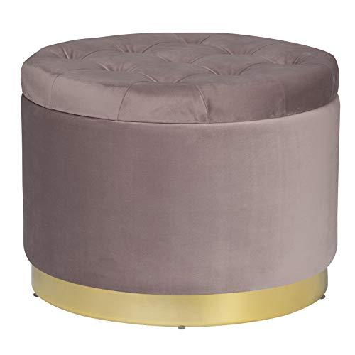 WOLTU Sitzhocker Pouf Hocker Couch Hocker Fußbank Samt Hocker Aufbewahrungsbox Schminktisch Hocker Samtbezug mit Stauraum(55L), bis 100KG belastbar, 55x55x42cm, Rosa