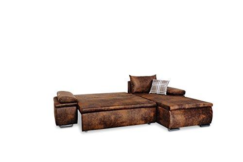 Mein Sofa CLVint Vintage Eckgarnitur Cali mit Schlaffunktion und Bettkasten, circa 274 x 85 x 180 cm - Sitzhöhe circa 42 cm, Kunstleder, Recamiere rechts oder links verwendbar - 4