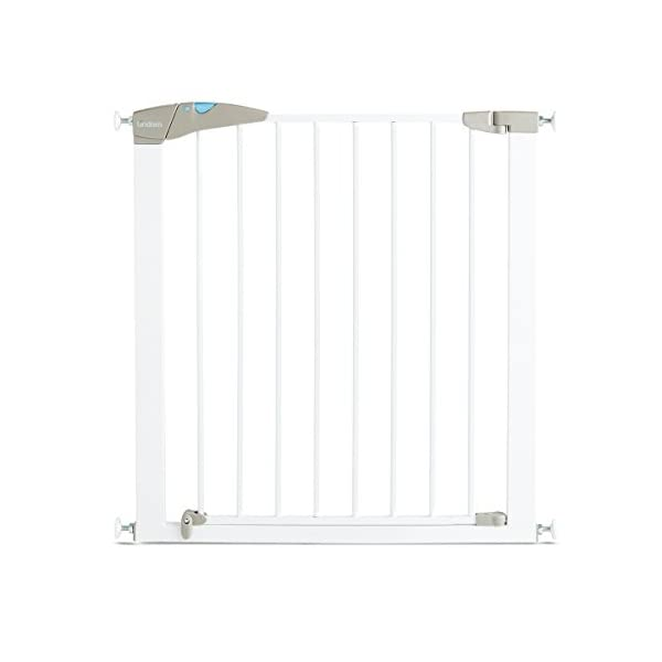 Lindam Sure Shut Axis Pressure Fit Safety Gate 76 - 82 cm, White Lindam Squeeze and lift handle for easy one handed adult opening Four point pressure fit - U shaped power frame provides solid pressure fitting; pressure indicator assures baby gate is installed correctly Also features second lock at the base of the gate 1