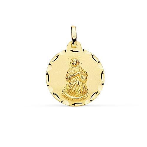 Medalla Oro 18K Virgen Inmaculada 18mm. Borde Tallado - Personalizable - Grabación Incluida En El Precio