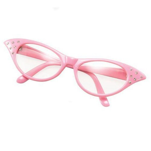 (Womens Girls 50s Rock Roll Retro Grease Poodle Scarf Glasses Fancy Dress Costume PINK CLEAR GLASSES by Star55)