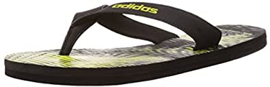 Adidas Men's Eezay Gr Black, Bright Yellow and Dark Grey Rubber Flip-Flops and House Slippers - 8 UK