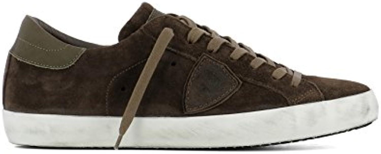 Philippe Model Herren CLLUXH05 Braun Wildleder Sneakers