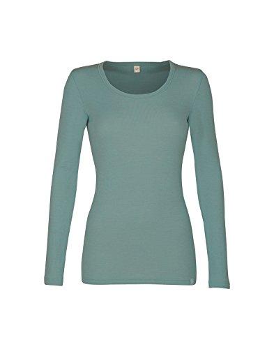 Dilling Warmes Langarmshirt für Damen aus 100% Bio-Merinowolle Hellgrün 36
