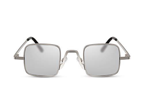 Cheapass Sonnenbrille Silber-n Getönt UV-400 Recht-eckig Würfel Metall Damen Herren