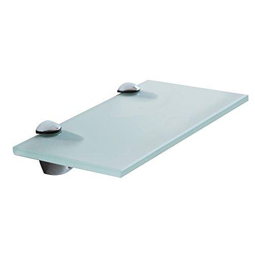 Melko® Glasablage mit Edelstahl-Halterung - Wandregal Bad & WC - Badablage für Spiegel & Waschbecken - Glasablage für Wohnzimmer & Küche & Flur (30 x 10 x 0.8 cm, Milchglas)