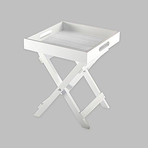 DRULINE Butlers Tray Tablett Tisch Beistelltisch Shabby Chic Vintage Klapptisch MDF Weiß (Butler Tray)